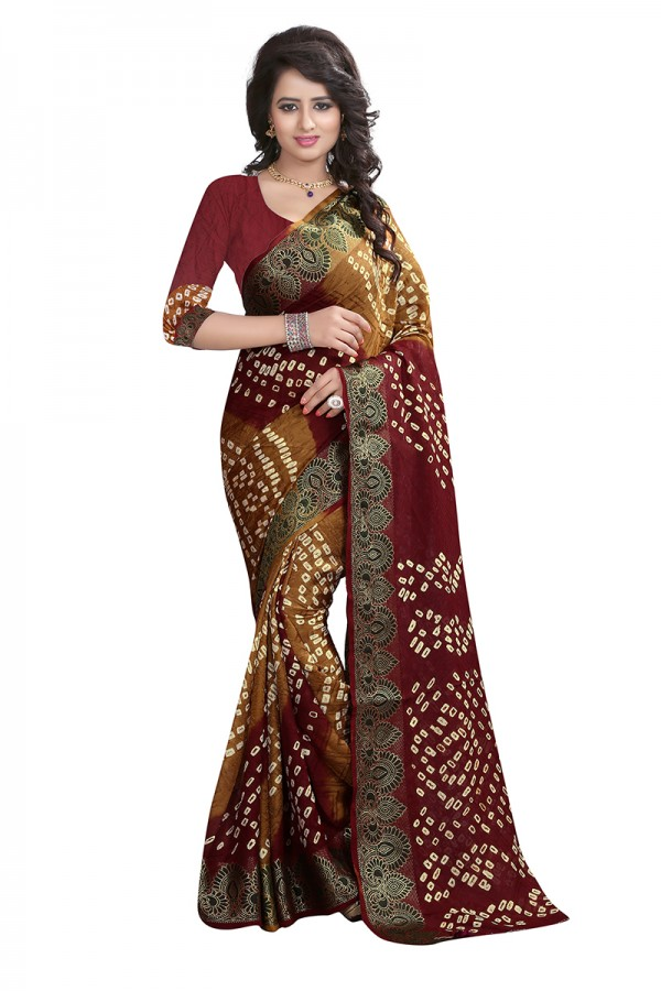 8bf4d8aad8 Party Wear Maroon & Mustard Color Cotton Silk Bandhani Saree with Blouse