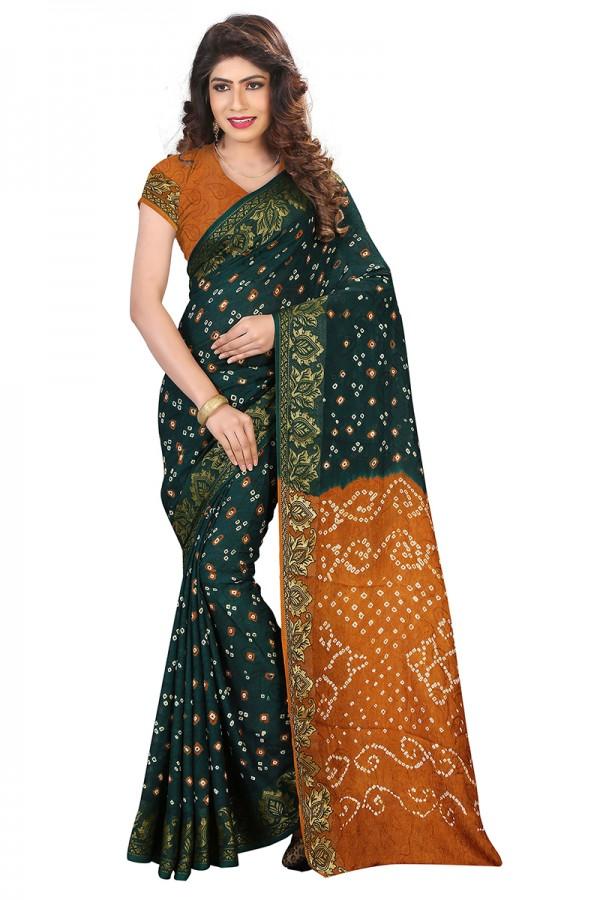 0b917b505d Mustard & Green Color Cotton Silk Bandhani Saree with Blouse ...