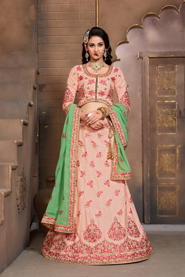 4bc7a83096 Beautifull Mulberry Silk Peach color Heavy Embroidery Lace Hand Work  Lehenga Choli
