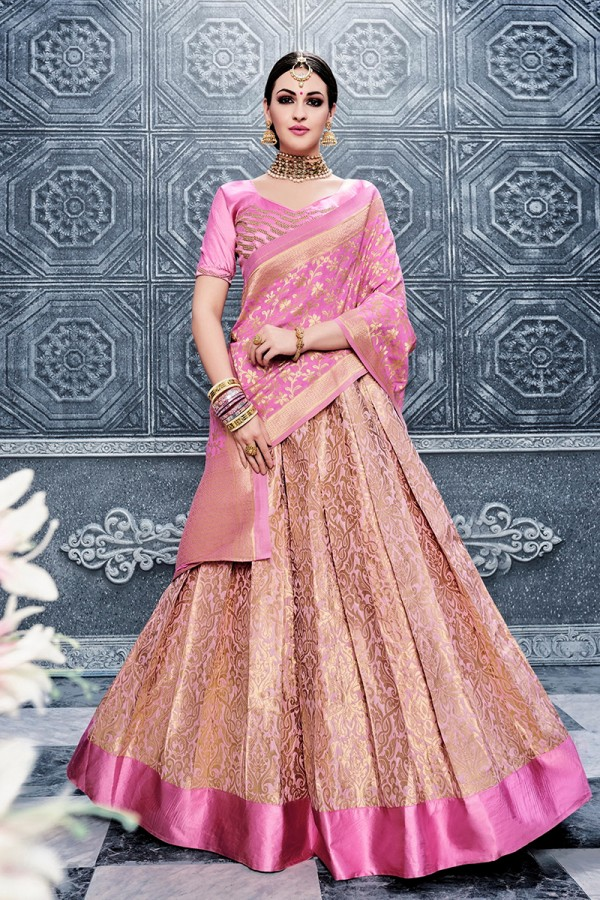 eb9421f1eb Designer Heavy Embroidery Hand Work Banarasi Silk Pink color Lehenga Choli