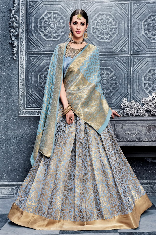 3470945d392cd5 Designer Heavy Embroidery Hand Work Banarasi Silk Light Blue color Lehenga  Choli