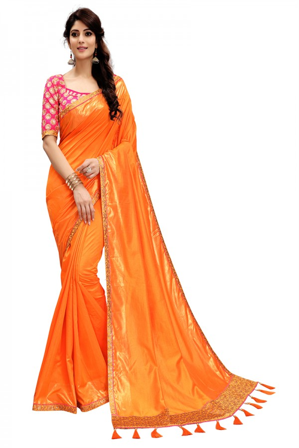d353d0a16afcd5 Ethnic Wear Orange Color Two Tone Silk Saree with Embroidered Blouse ...