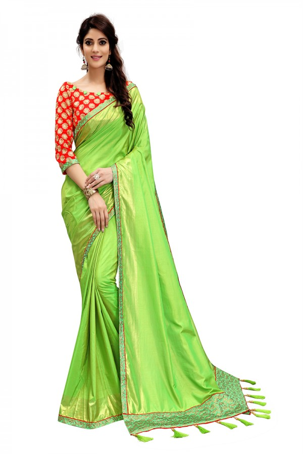 e1b748c677 Ethnic Wear Parrot Green Color Two Tone Silk Saree with Embroidered Blouse