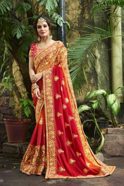 85daf164ebcc9 ... Silk Red Orange Saree Heavy Embroidery Zari Thread   Coding Work with Embroidery  Blouse
