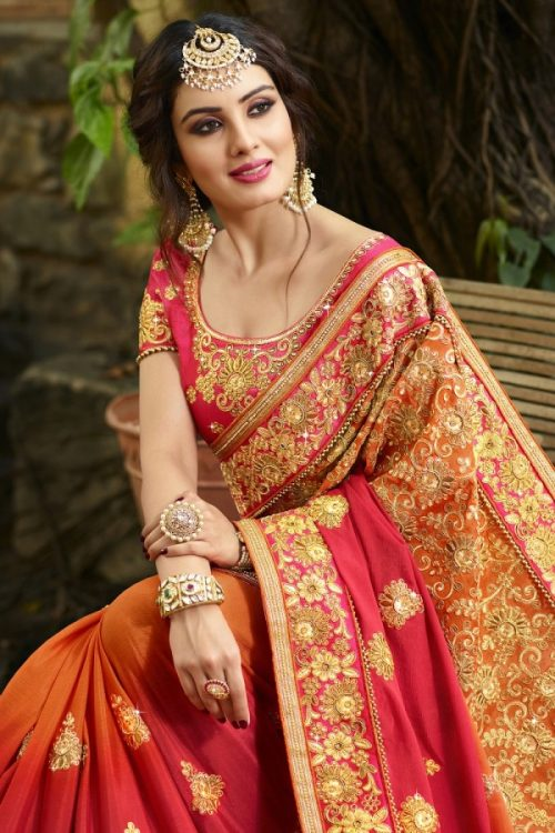 8827aa93921a0 Silk Red Orange Saree Heavy Embroidery Zari Thread   Coding Work with  Embroidery ...